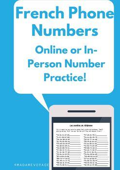 les numeros de telephone french number practice activity