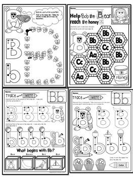 Pre KG Alphabet Worksheets LETTER Bb Printables Tracing