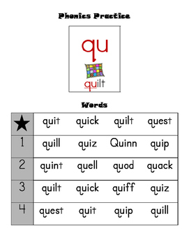 Leveled Phonics Reading Practice - qu sound by It's a FAB ...