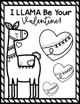 Llama Valentine S Day Coloring Sheets By Jamie Crofoot Small Town Teacher