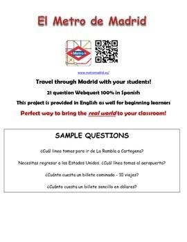 Madrid Metro Spanish Webquest Worksheet By Sra Sol