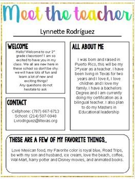 Meet The Teacher EDITABLE By Ms Lyros Primary TpT