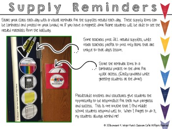 Middle School Organization Supply Reminder Icons By Kates Classroom Cafe
