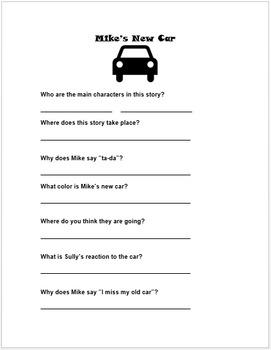 Mike S New Car Disney Pixar Short Companion Worksheet By Msmaxslp