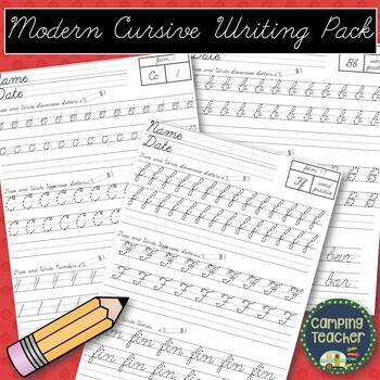 Modern Cursive Writing Pack By Campingteacher