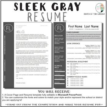 Teacher Resume Template Sleek Gray And White TpT