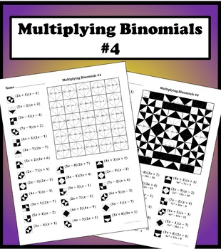 Multiplying Binomials Color Worksheet 4 By Aric Thomas