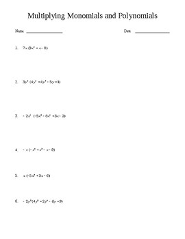 Multiplying Monomials And Polynomials Worksheet By Fun