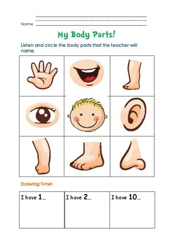 My Body Parts Esl Worksheet For Kids Identify And Draw By Appletreedesign