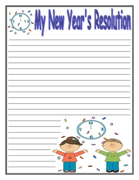 New Year's Resolution Writing Paper by Mary Cummings | TpT