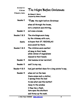 Readers Theatre Night Before Christmas Script And