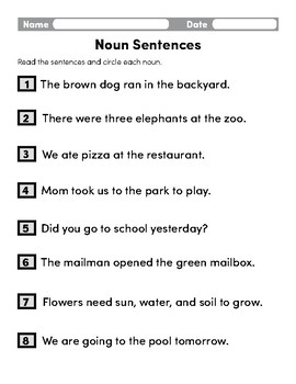 Noun Sentences By Ready Reading Resources