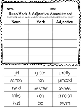 Noun Verb Adjective Assessment By Pencil Perfect