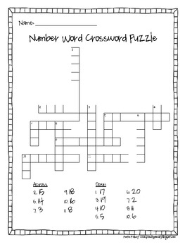 Number Word Crossword Puzzle By Katie Sonntag