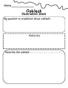 Oobleck Science Experiment Observation Sheet By Laura