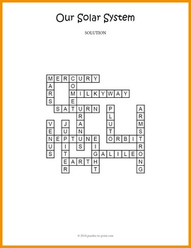 Our Solar System Crossword Puzzle by Puzzles to Print TpT