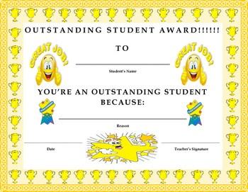 Outstanding Student Award Certificate- Kids Will Love It ...
