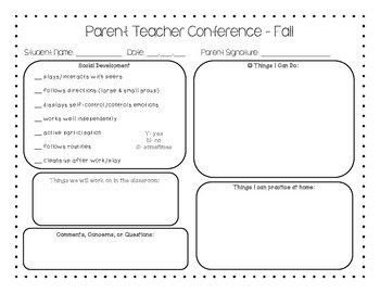 Free Fillable Forms » Parent Teacher Conference Forms