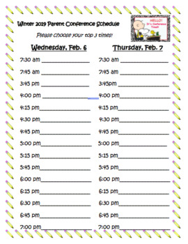 We also have some open house sign up sheet that you might want to use. Parent Teacher Conference Sign Up Sheet Worksheets Teaching Resources Tpt