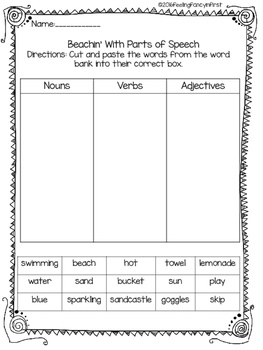Parts of speech cut and paste by feelingfancyinfirst | TpT
