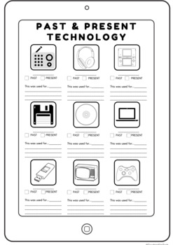 Past and Present Technology Worksheets ACTDIK001 ACHASSK046