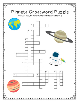 Planets Crossword Puzzle by Fourth Grade Mania | TpT
