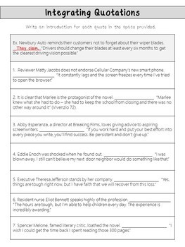 Practice Worksheets For Integrating Quotations By