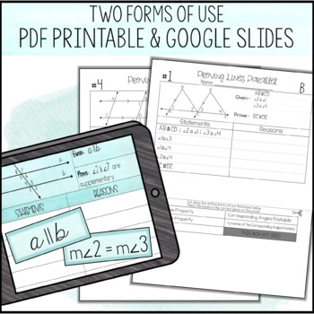 Proving Lines Parallel Proof Activity By Amazing