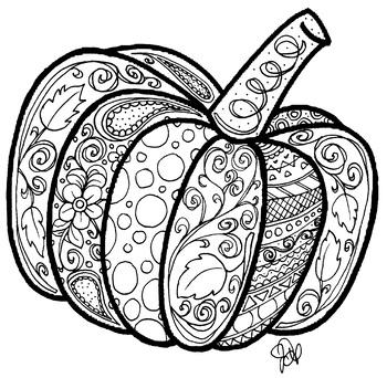 Pumpkin Coloring Page By Honedoodles Teachers Pay Teachers