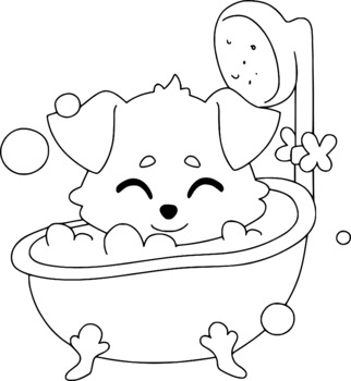 Puppy Coloring Pages For Kids 600 Dpi By Digital Empire Tpt