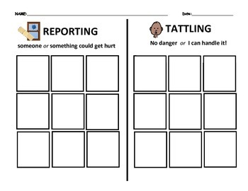 Reporting Telling Vs Tattling Cut Sort And Paste By