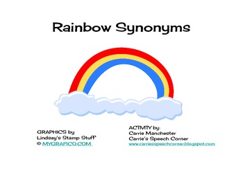 Rainbow Synonyms - Carrie's Speech Corner by Carrie ...