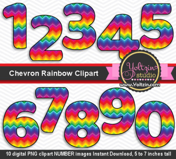 Rainbow Clipart Numbers Chevron Colorful Number Clip Art By Yoltzin Studio