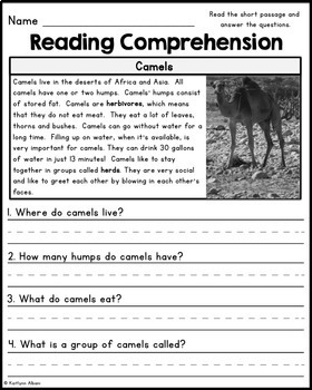 Reading Comprehension Passages Desert Animals By