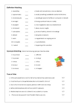 Reading Comprehension And Vocabulary Worksheet Brief