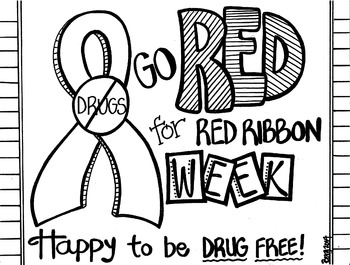 red ribbon week coloring pages # 3