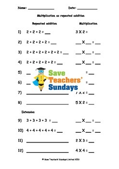 Repeated Addition Worksheets 3 Levels Of Difficulty By