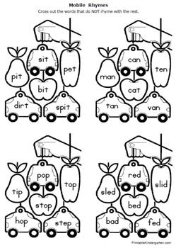Rhymes Worksheets Packet For Prek 1 By Fran Lafferty