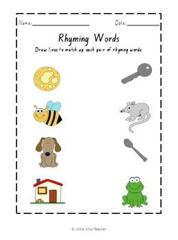 Rhyming Word Worksheets By Little Miss Teacher