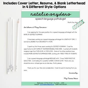 SLP Amp Teacher Resume And Cover Letter Templates Fully Editable