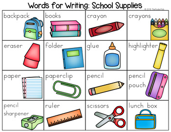 School Supplies Word List Writing Center By The Kinder Kids TpT