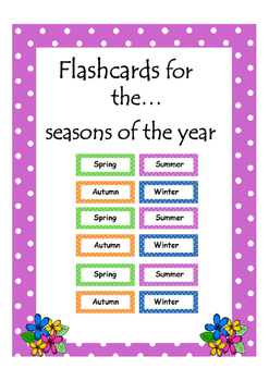 Seasons Flashcards By Glitter Through The Curriculum TpT