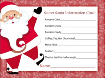 image relating to Secret Santa Sign Up Sheet Printable identified as Totally free Printable Magic formula Santa Type - No cost Down load