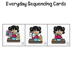 Everyday Sequencing Cards- A girl pouring cereal, pouring milk, eating a bowl of cereal