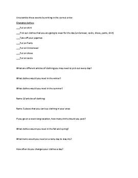 Adl Sequencing Worksheets