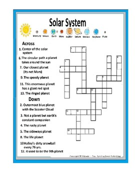 Solar System Crossword Puzzle Planet Nick Names TpT