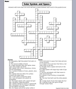 Solar System and Planets Worksheet Crossword Puzzle
