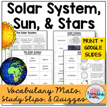 Solar System, Sun, and Stars Vocabulary Mats, Study Slips ...