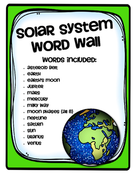 Solar System Vocabulary Words by Schram is the Bomb | TpT