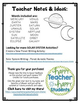 FREE Solar System Word Search - Planets Word Search | TpT